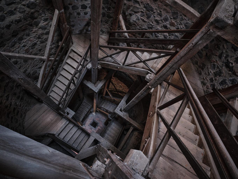 Burgruine Münzenberg, Aufgang im Ostturm