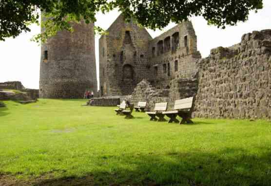 Blick auf die Mauerreste der Burgruine