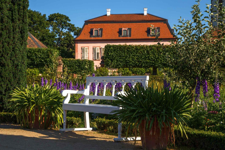 Blick auf das Pretlacksche Gartenhaus mit Parkansicht. Im Vordergrund ist eine weiße Bank. Lila blühende Pflanzen schmücken das Gartenbeet.