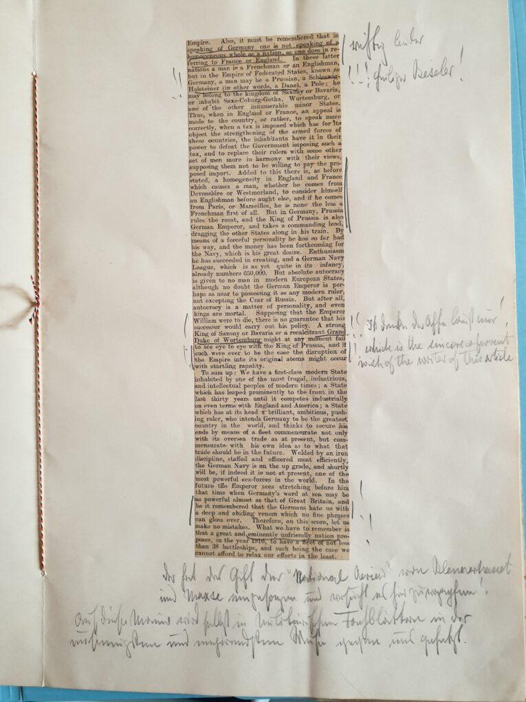 Handschriftliche Kommentare von Kaiser Wilhelm II. zu einem kritischen Artikel in der Presse