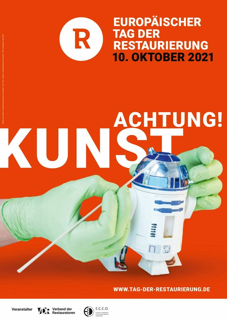 """""""Achtung! Kunst"""" - Plakat des Verbandes der Restaurator:innen"""